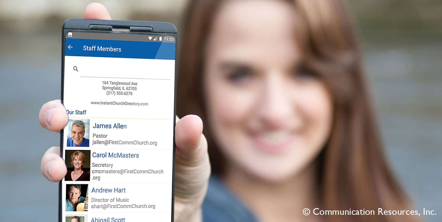 Young woman holding phone with Staff page from Instant Church Directory