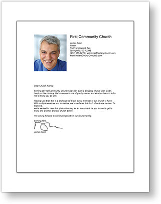 Instant Church Directory Pastor's Letter