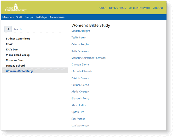 Using Groups In Your Church Directory Groups Example On Website