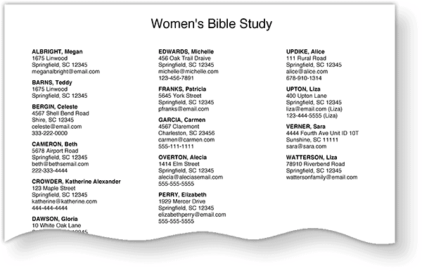 Using Groups In Your Church Directory Groups Printed Page Example