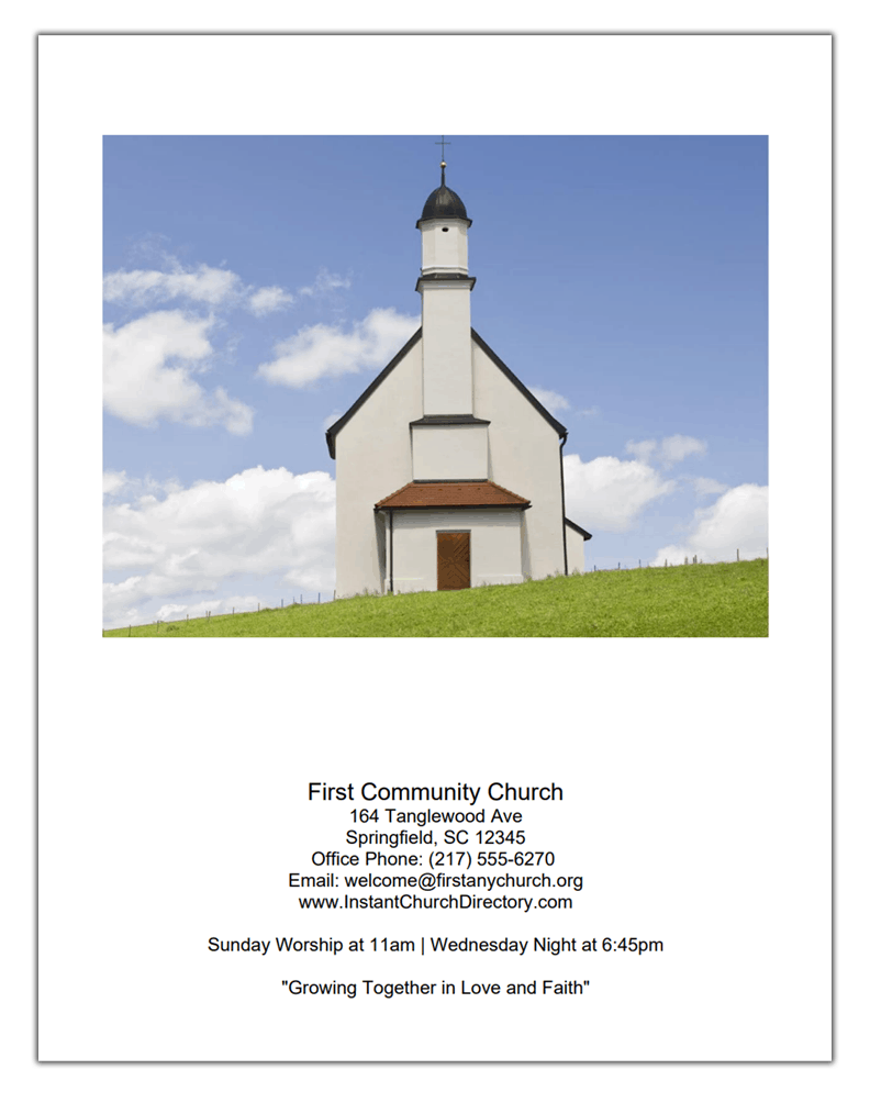 Church Directory Cover Example With Lots Of Text