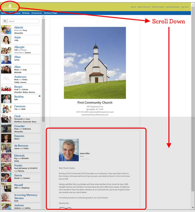 Church Directory Pastor Page Members Website