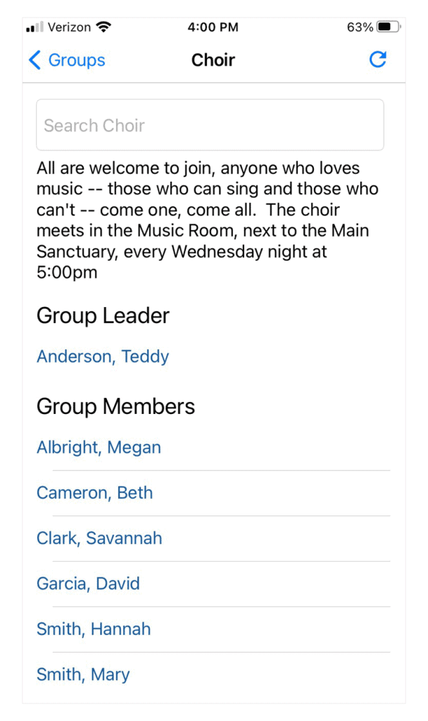 Group Descriptions And Group Leaders On Mobile App