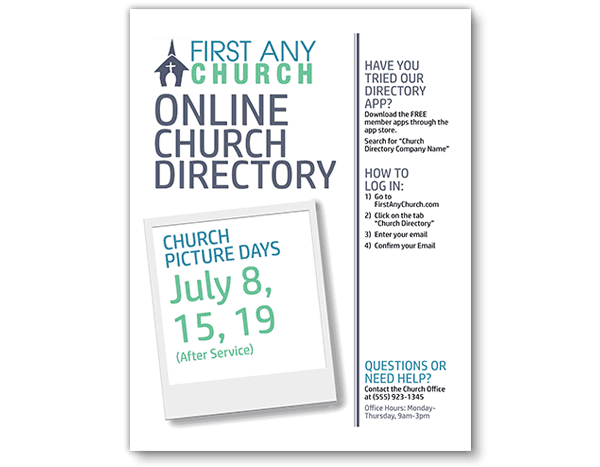 Instant Church Directory Flyer Example