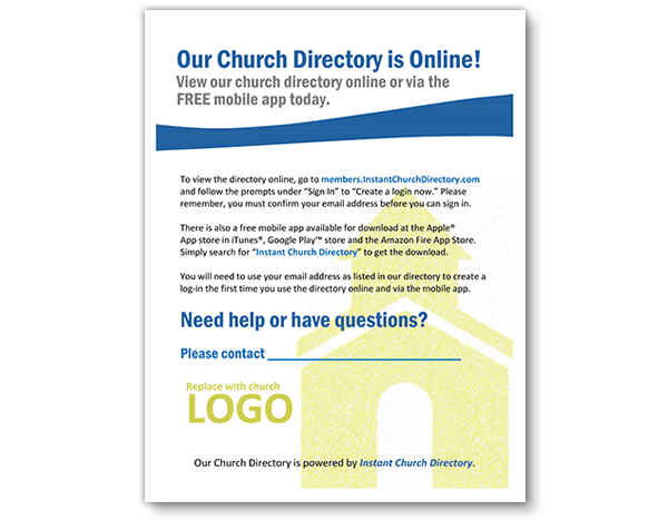 Instant Church Directory Free Flyer