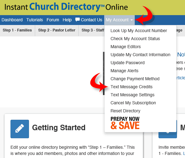 Instant Church Directory Text Messaging Credits Example