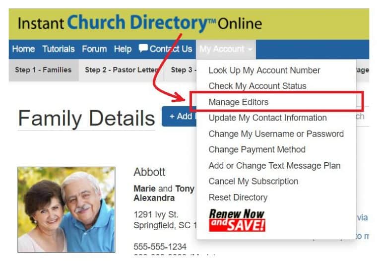 Manage Multiple Church Directory Editors