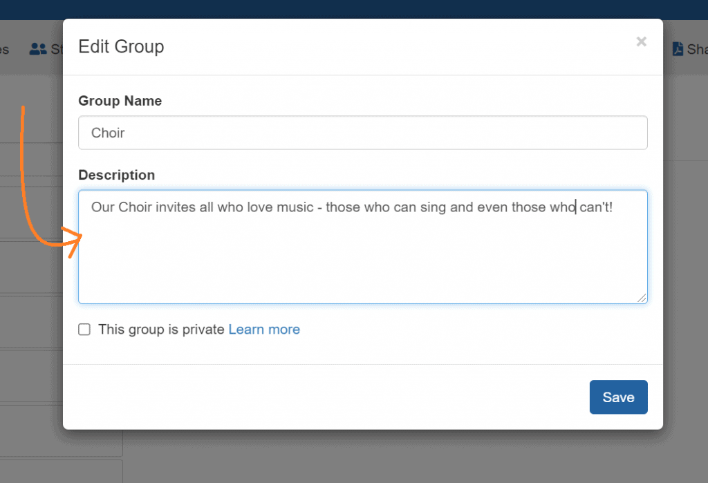 Group Description Screen Shot