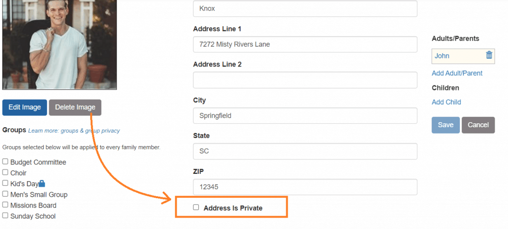 Private Address Option for Family Members