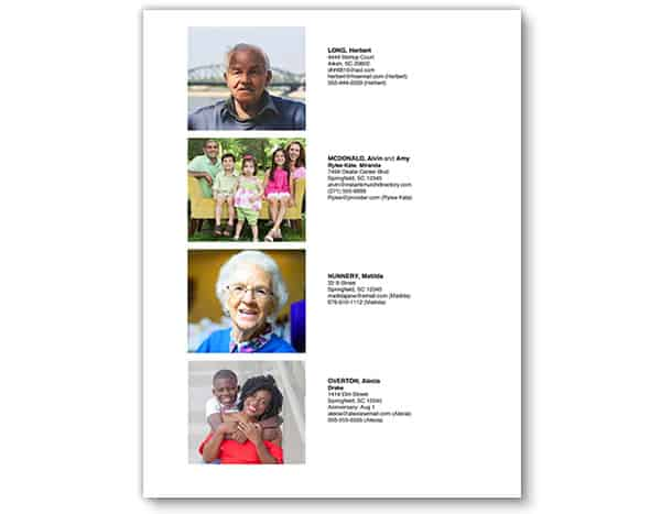 Church Directory Template -  Family Photos With Details
